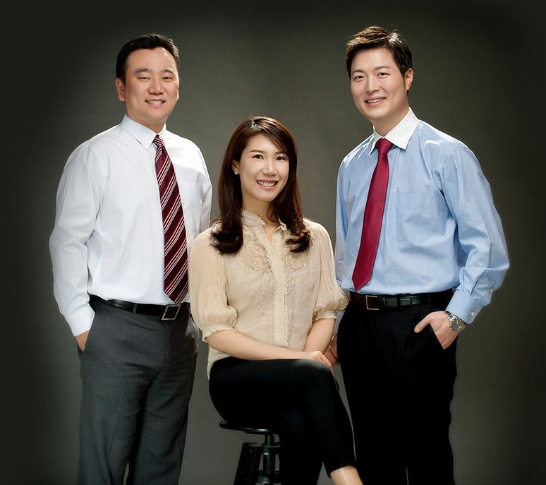 The three dentists Dr. Hwang Dr. Kathrine Lee and Dr. Brian Lee