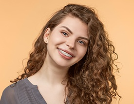 Woman with six month smile braces